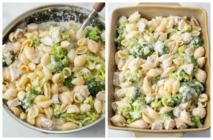 Chicken Alfredo Pasta in a skillet and in a casserole dish.