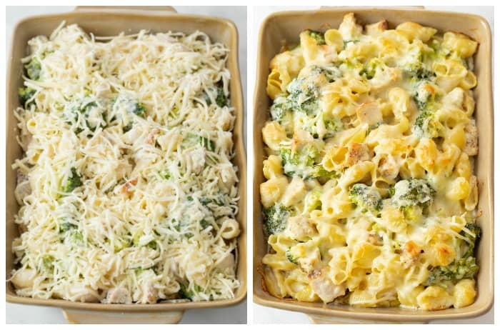 Chicken Alfredo Pasta Bake in a casserole dish before and after being baked.