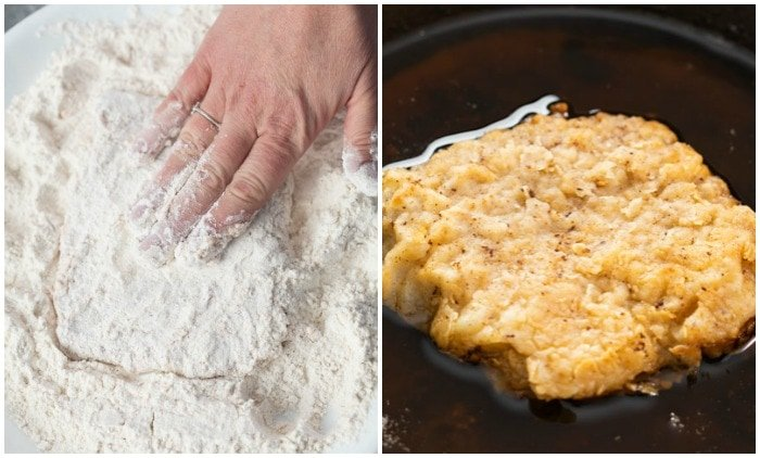Chicken fried steak being coated in flour breading and fried in a pan.