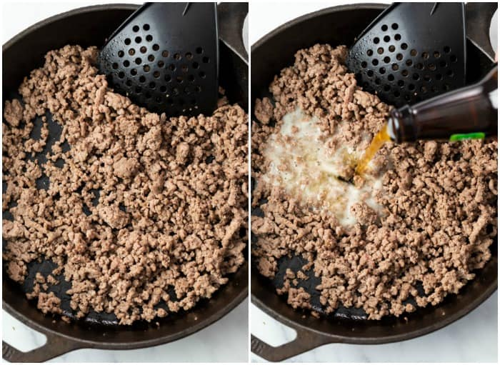 Ground Beef in a skillet with beer being added to make queso dip.
