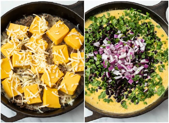 A skillet with cheese being melted and cilantro, onions, and black beans being added to make queso dip.