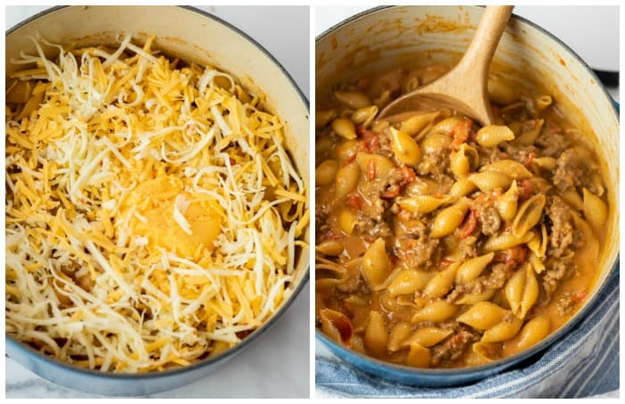 A dutch oven with pasta shells topped with cheese next to a pot of taco pasta with a wooden spoon.