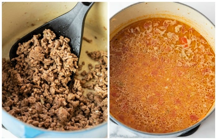 A dutch oven filled with cooked ground beef next to a pot of red taco sauce for taco pasta.