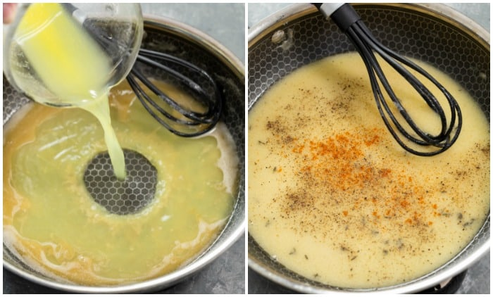 Chicken broth and seasonings being added to a pan for making gravy for chicken fried steak.