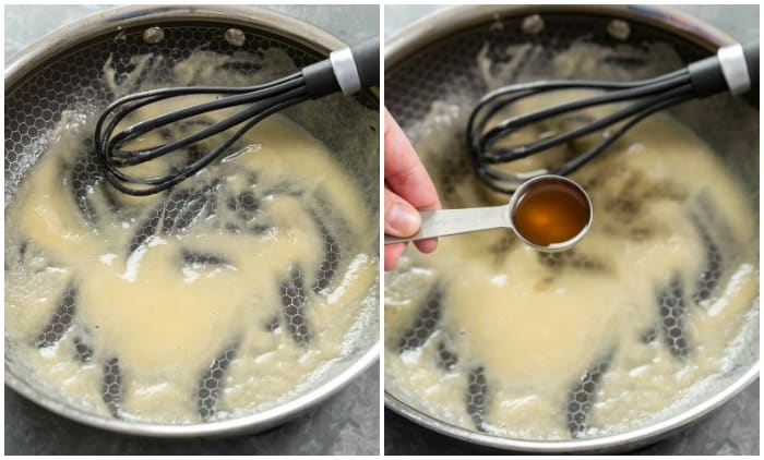 A pan with a butter and flour roux for making white gravy for chicken fried steak.