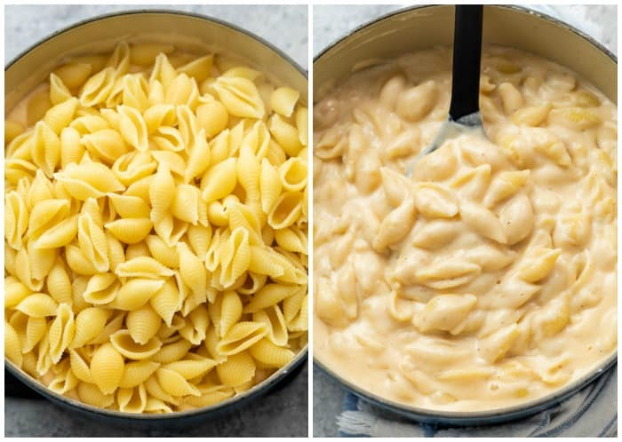Adding cooked shell pasta to a soup pot and stirring it into Panera Mac & Cheese Sauce.
