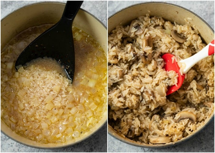 A pot of uncooked rice and beef broth next to a pot of cooked rice and mushrooms.