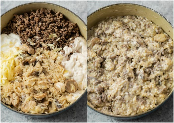 A pot showing the before and after shot of ingredients being mixed to make cheesy ground beef and rice casserole.