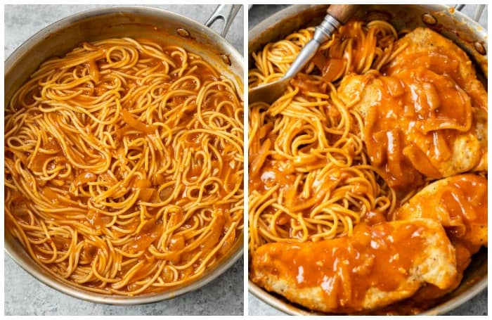 A skillet with spaghetti and chicken in a red chicken scallopini sauce.