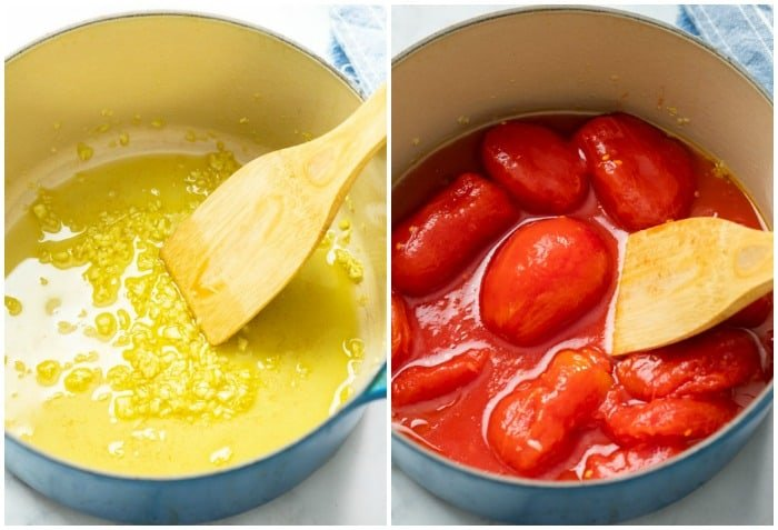 Garlic and oil in a pot with plum tomatoes to make homemade marinara sauce