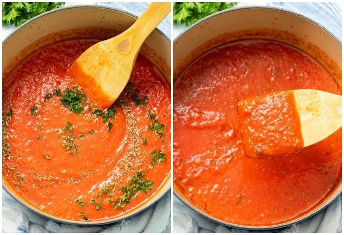 Seasonings being stirred into a pot of marinara sauce.