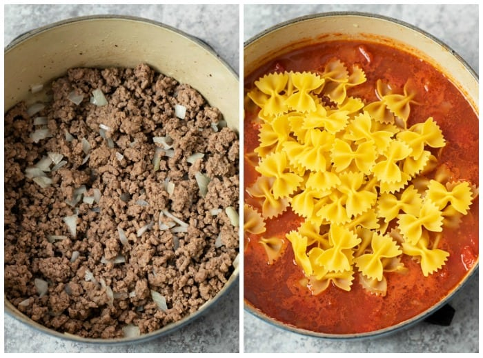 Ground Beef in a pot with sauce and pasta added showing how to make sloppy joe casserole