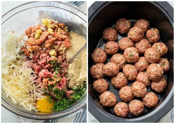 Meatball ingredients in a glass bowl before being mixed next to a crock pot with uncooked meatballs.