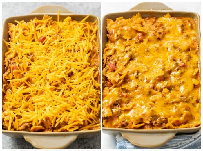 Sloppy Joe Casserole with cheese on top before and after being baked.