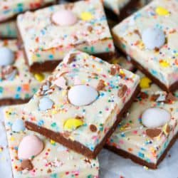 A stack of pastel colored Easter fudge