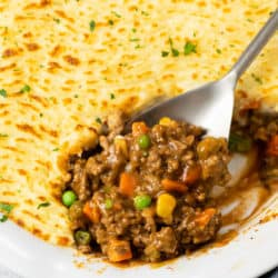 A casserole dish filled with easy Shepherd's pie with ground beef.