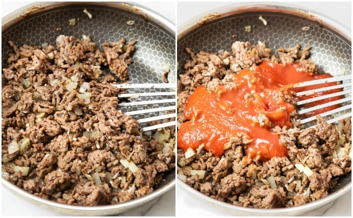 Ground beef in a skillet with tomato sauce added to make Homemade Sloppy Joes