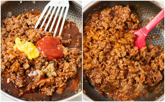 Sloppy Joes being Cooked in a skillet.