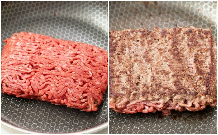 A pound of ground beef in a skillet before and after being cooked.