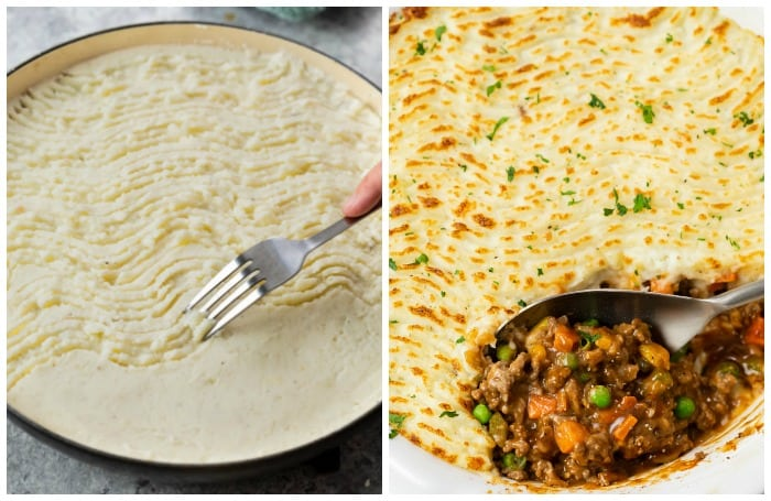 A dish with uncooked shepherds pie next to a dish of broiled sheperds pie