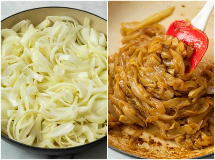 2 skillets filled with onions before and after being cooked and caramelized.