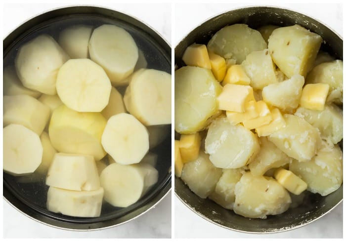 A pot of sliced russet potatoes in water next to a pot of cooked potatoes with butter.