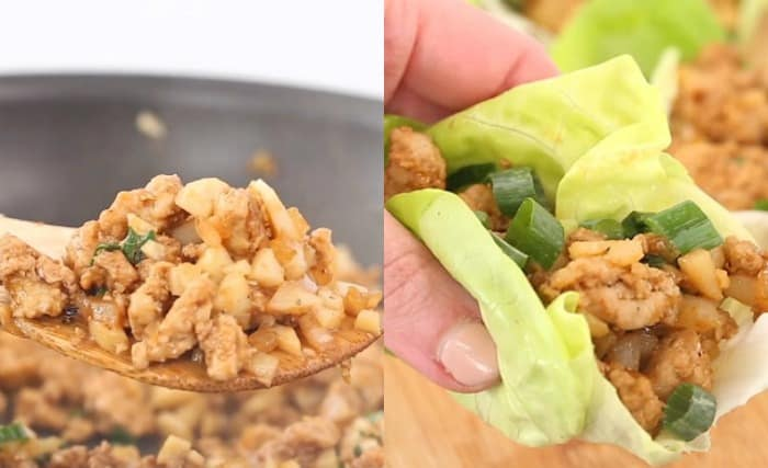 Ground chicken mixture being added to butter lettuce to make PF Changs Chicken Lettuce Wraps