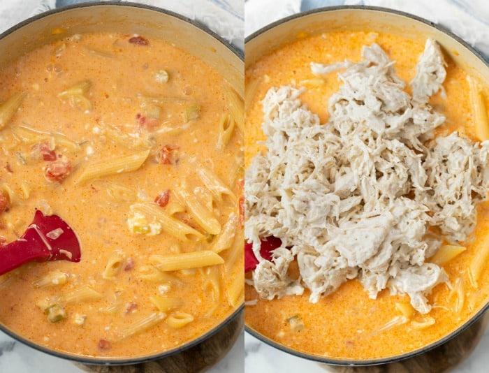 Adding shredded chicken to a pot of buffalo chicken pasta.