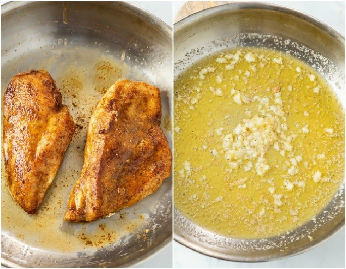 A skillet of seared Cajun chicken next to a skillet with melted butter and garlic.
