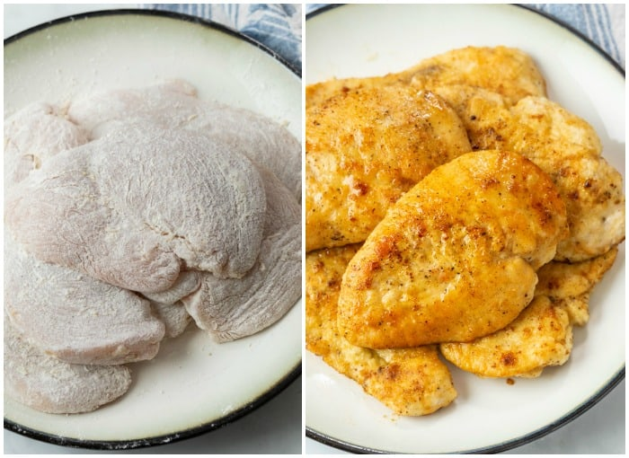 A plate of chicken coated with flour next to a plate with golden brown cooked chicken.