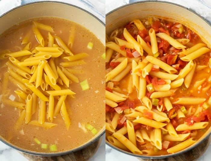Penne in a pot before and after being cooked.