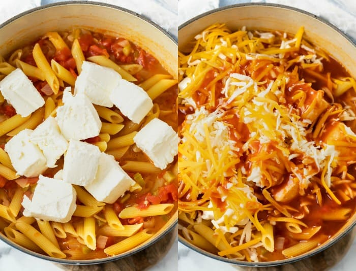 A pot of buffalo chicken pasta with cream cheese and cheese being added.