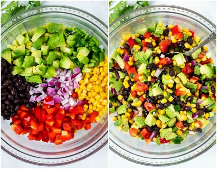 A bowl with ingredients for Cowboy Caviar before and after being mixed.
