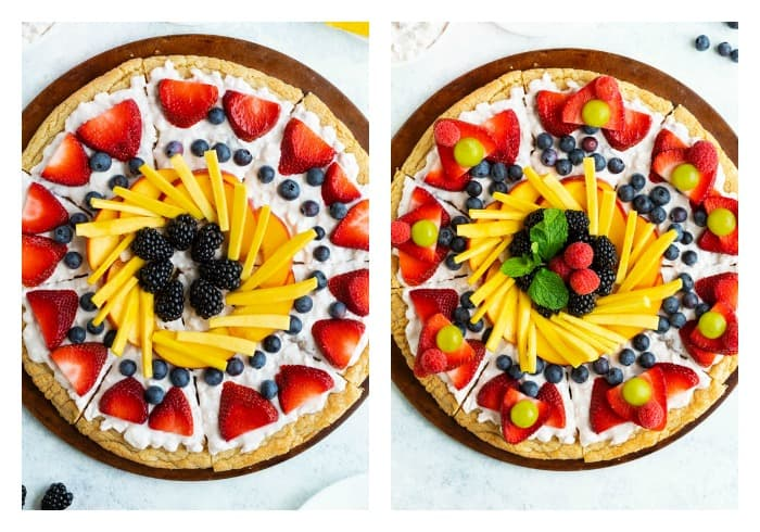 Decorating a Fruit Pizza with colorful fruit.