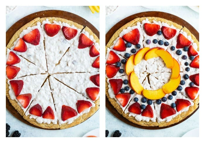 Fruit Pizza with Fruit Toppings being added to decorate it.