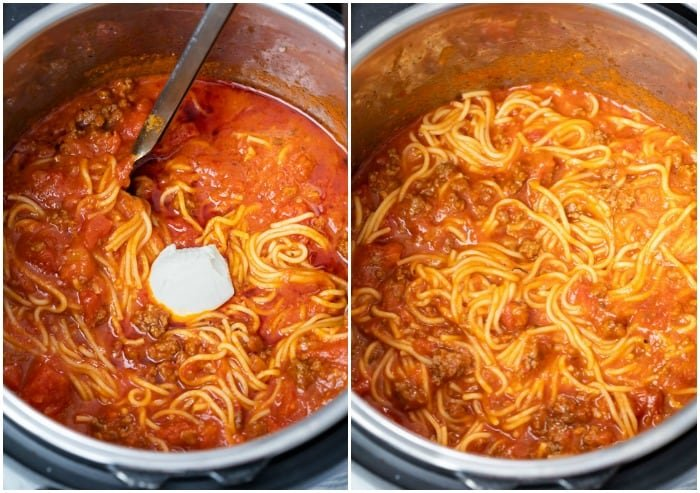 An Instant Pot filled with Spaghetti showing cream cheese being added and mixed in before serving.