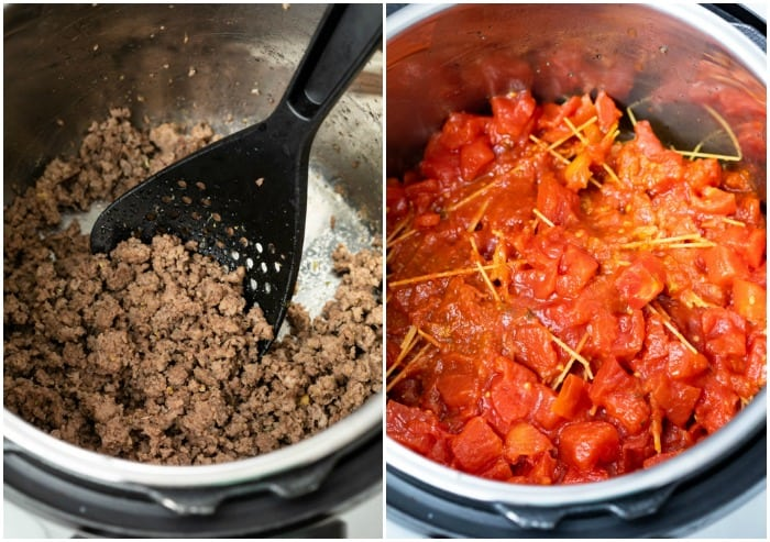 Ground beef cooking in an Instant Pot next to an Instant Pot with uncooked spaghetti and diced tomatoes.