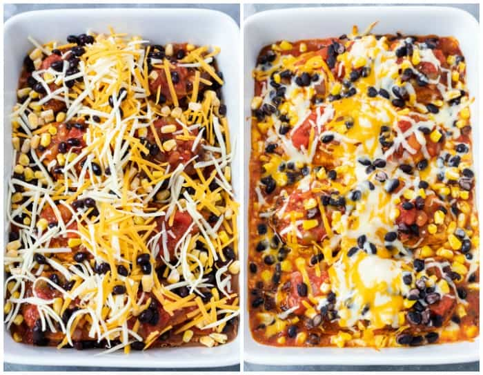 A casserole dish of Salsa Chicken topped with cheese before and after being baked.