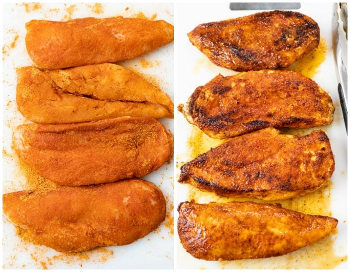 Seasoned Chicken on a white cutting board before and after being seared.