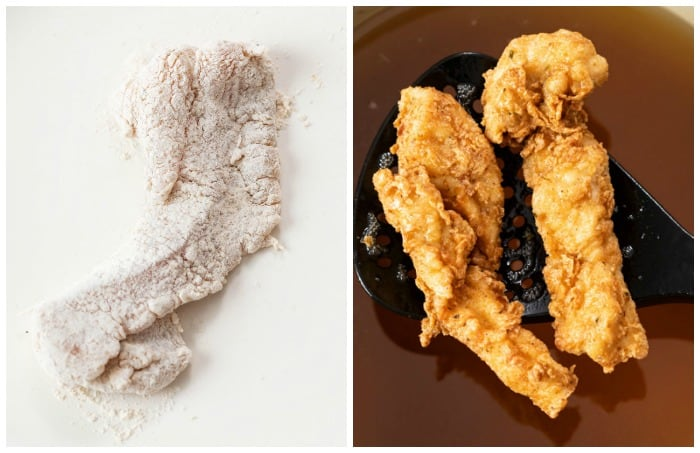 Breaded chicken tenders before and after deep frying.