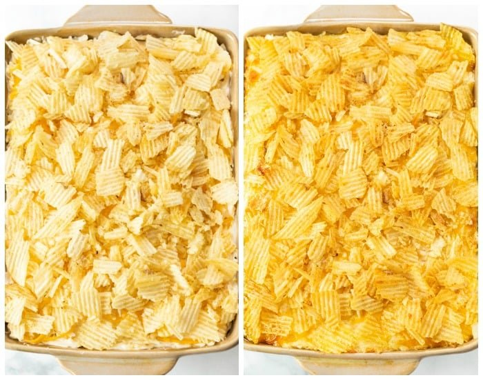 A casserole dish with funeral potatoes topped with potato chips before and after baking.