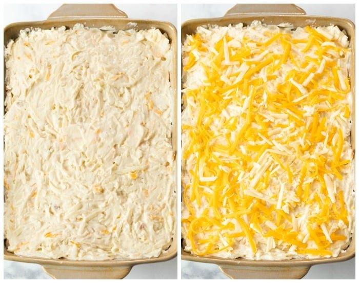 Casserole dish with filling for funeral potatoes before baking it.