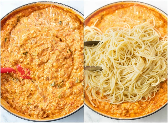 Marinara meat sauce with Ricotta with spaghetti being added to make Baked Spaghetti.
