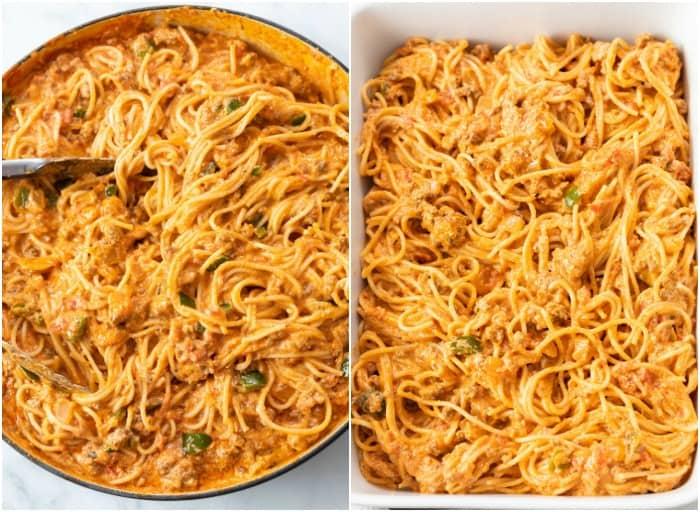 Spaghetti in a meat marinara sauce in a saucepan and in a casserole dish to make Baked Spaghetti.