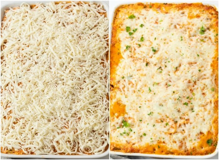 Showing how to make Baked Spaghetti in a casserole dish before and after baking.