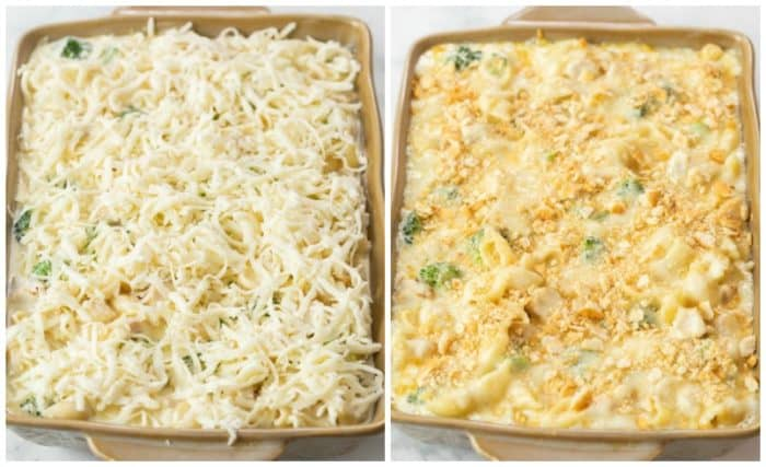Chicken Alfredo Bake topped with cheese in a casserole dish before and after baking.