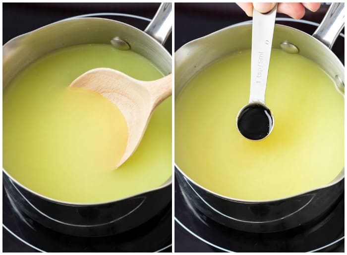 Chicken Broth in a saucepan with soy sauce being added to make Chicken Gravy.