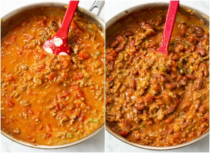 Showing how to make Frito Pie with Chili thickening in a skillet.