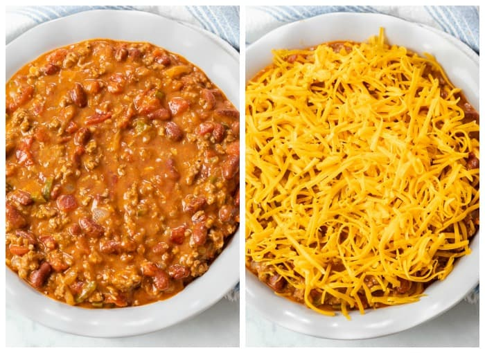 Showing how to make Frito Pie with Chili in a Skillet Topped with Cheese.