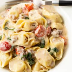 A white bowl filled with tomato basil tortellini pasta in a cream sauce with a fork in the back.